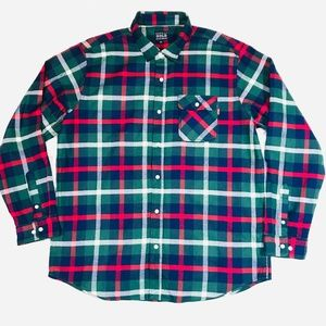 ACAPULCO GOLD GREEN PLAID FLANNEL BUTTON DOWN